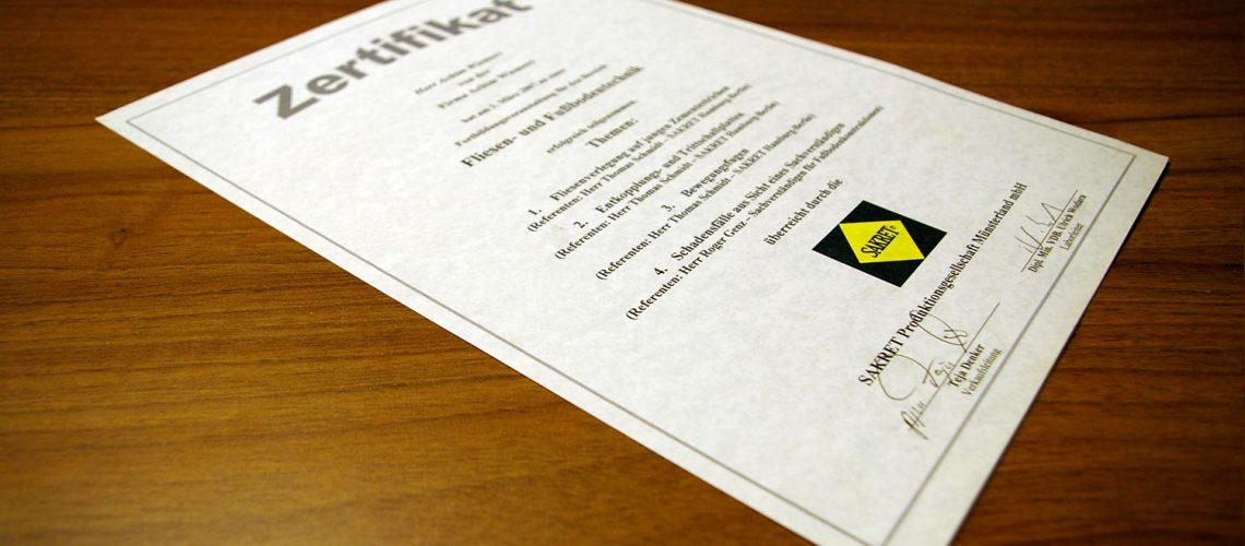 Sakret Zertifikat 2007